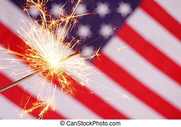 sparkler and usa flag