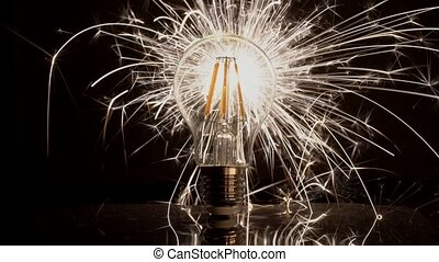Sparkler Behind LED Light Bulb - Fast Long Sparks. -...