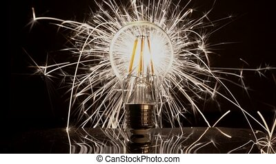Sparkler Behind LED Light Bulb.