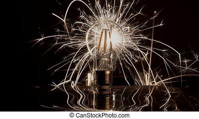 Sparkler Behind LED Light Bulb With Wide Spread.