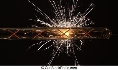 Sparkler Behind Long LED Light Bulb. - Sparkler Behind Long...
