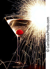 Cocktail with sparkler over black