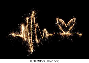 sparkler, coração, 2, onda