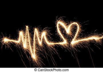 sparkler, coração, onda