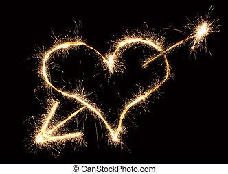 sparkler, coração, seta