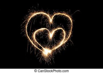 sparkler, corações, dois