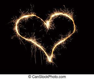 sparkler, corazón