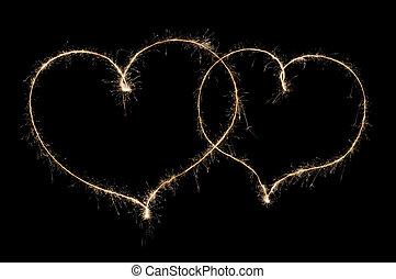 sparkler, corazones, dos