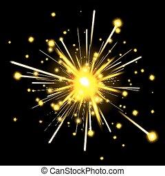 sparkler, fête, incandescent