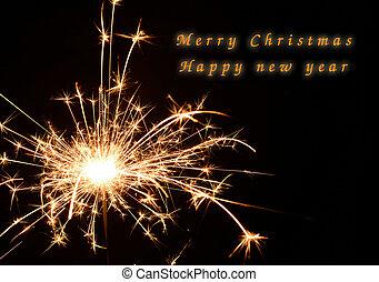sparkler, feestje, black , kerstmis, newyear