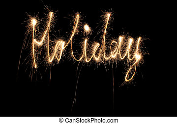 sparkler, feriado, palavra