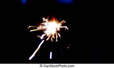 Sparkler fire in the dark, blur