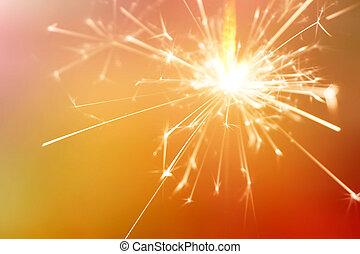 sparkler, fogo, experiência vermelha