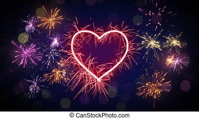 sparkler, forma cuore, e, fireworks, cappio, animazione