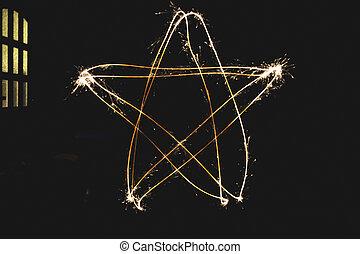 sparkler, forme, étoile