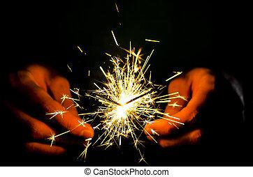sparkler, fuoco, mano