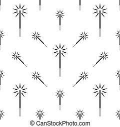 Sparkler Icon Seamless Pattern, Festival Firework