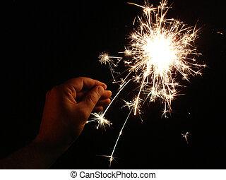 Sparkler in Hand - Hand holding a sparkler.
