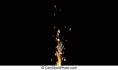 Sparkler isolated on black background.