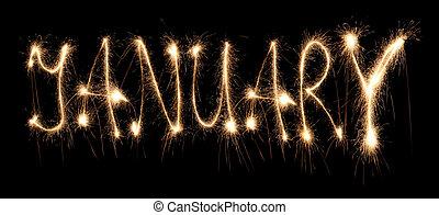 sparkler, janeiro, mês