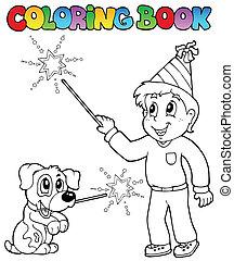sparkler, jongen, kleurend boek