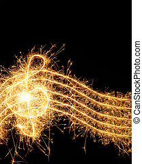 Sparkler music wave isolated on black