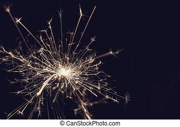 sparkler, nero, Natale, fondo