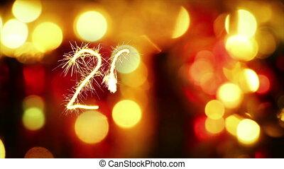 sparkler, nieuw, 2016, groet, jaar