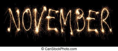 sparkler, novembre, mois