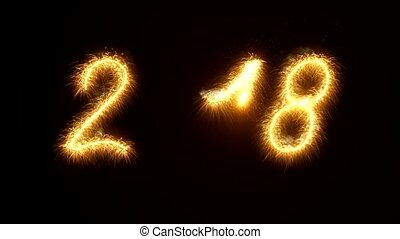 sparkler video animation of the numbers 2018 with alpha canal