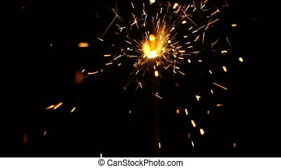 Sparkler on a black background in slow motion Chroma key