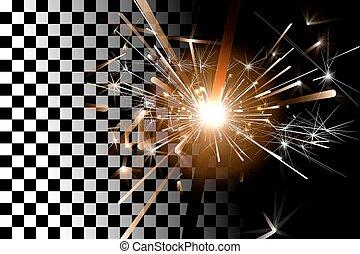 Sparkler on a transparent background