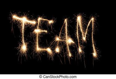sparkler, palavra escrita, equipe