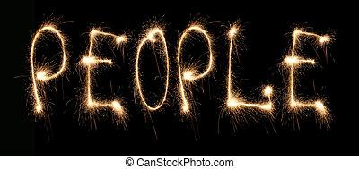 sparkler, palavra escrita, pessoas