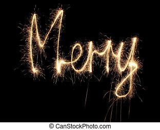 sparkler, palavra, feliz
