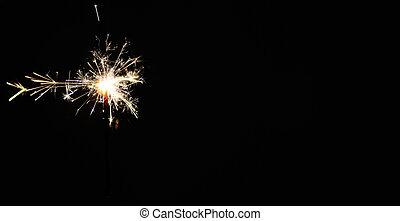 sparkler, panorama, black