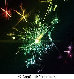 sparkler, persona de color de multi