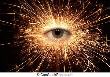 sparkler - Eye in a burning sparkler against a dark...