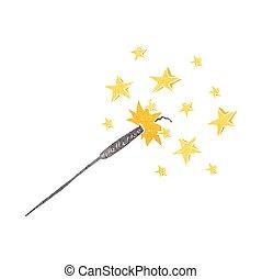 sparkler, retro, cartone animato