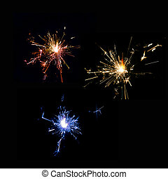 sparkler,  set, nero, Natale