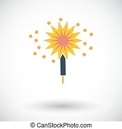 Sparkler. Single flat icon on white background. Vector...