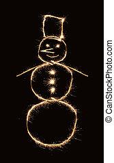 sparkler, snowman