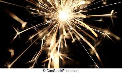 Sparkler   - Sparkler burning down, macro shot