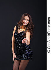sparkler, vestido, mulher, pretas, segurando