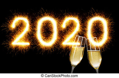 Sparkler with champagne glasses - Happy New Year 2020