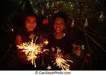 sparklers, fête, gosses