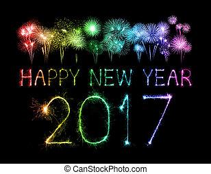 sparklers, firework, anno, nuovo, 2017, felice