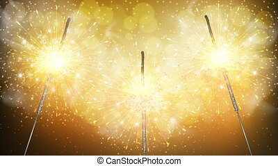 sparklers on a golden background