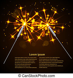Sparklers on black background. Vector illustration.