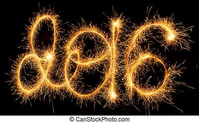 sparklers, -, rok, nowy, 2016, szczęśliwy